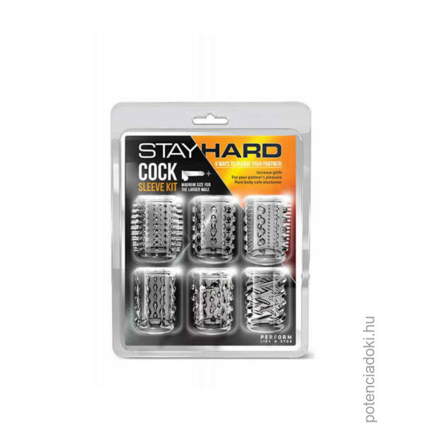 STAY HARD - COCK SLEEVE KIT CLEAR PÉNISZGYŰRŰ SZETT - 6 DB